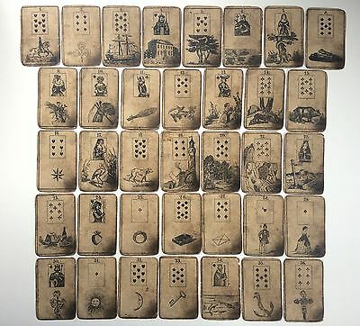 c.1850 Lenormand Fortune Telling Playing Cards VERY RARE Game of Hope Deck 36/36