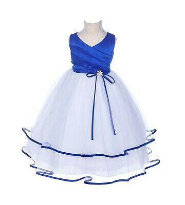 Rhinestones Satin Flower girl dresses Tulle Pageant Toddler Summer Occasion 115R