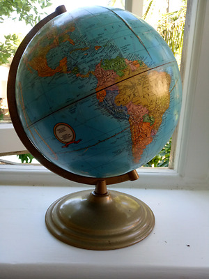 Vintage/retro Cram's Imperial world globe on gold metal stand