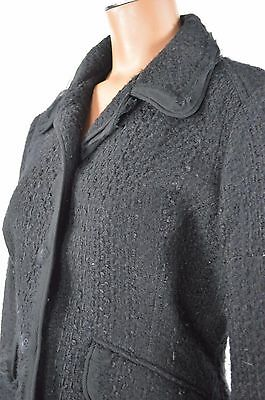 The Limited Womans Black Frayed Edges Button Down Wool Lined Jacket size M