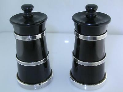 Pair English Sterling & Blackwood Pepper Churns / Mills MC HERSEY & SON London