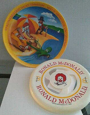 Ronald McDonald Plate 1977 with Frisbee Vintage McDonald Collectors Advertising