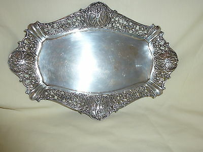 VINTAGE 800 SILVER REPOUSSE RETICULATED ORNATE TRAY - 249 grams