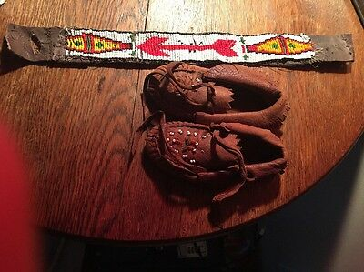Vintage Native American Authentic Moccasins And Beaded Hat Strap