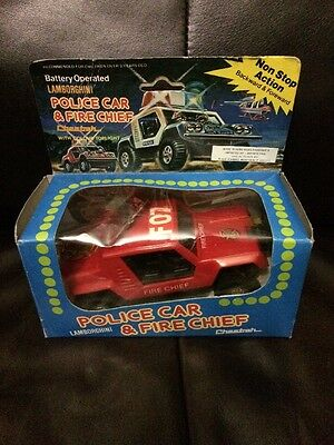 BNIB Vintage 70s Cheetah Lamborghini Fire Chief Car Battery Operated Toy