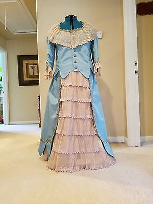 48 HOUR SALE!!!! Victorian bustle dress in blue taffeta and taupe lace