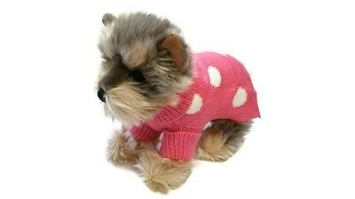Small dog cute polka dots pink dotted sweater pet clothes winter apparel puppy