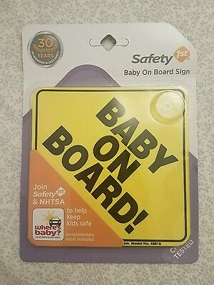 """NEW Safety 1st """"Baby On Board"""" Sign #48918 w Decal, Reflective Yellow"""