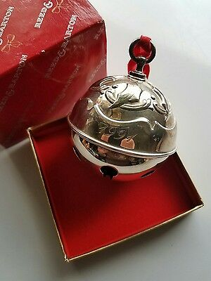 1991 Reed And Barton Holly Sleigh Bell Christmas Ornaments