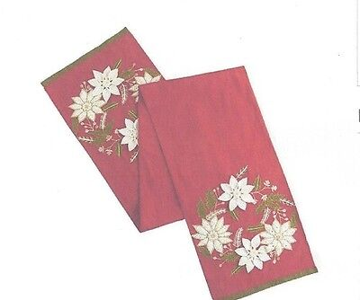 """Pier  1 imports Christmas Embroidered Poinsettia Table Runner 13"""" x 72"""" New"""