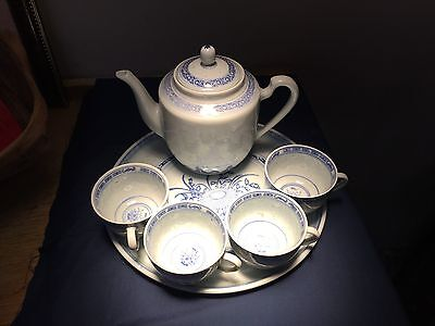 Blue & White Rice Eyes/Grain Pattern Teapot & 4 Cups, Under Plate Made In China