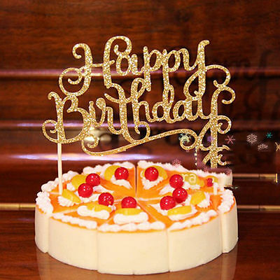Shining Happy Birthday Party Supplies Decoration Cake Topper Paper Decor New