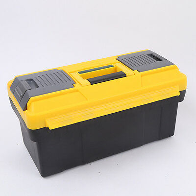 STON 14 inch Portable Tool Box Metal Lockable Garage DIY Parts Storage Organizer