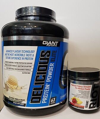 Giant Sports Delicious Protein Powder Elite 5Lb Free Riot Pre Workout