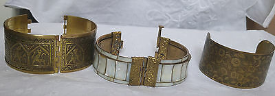 Vintage/Antique Three Brass Patterned Mother of Pearl Cuff Bracelets