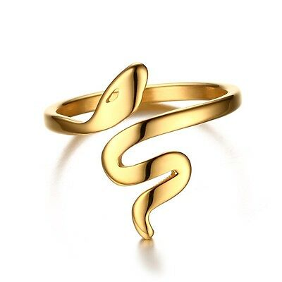 Cute Snake 18K Gold Plated Hollow Band Women's Wedding Opening Ring Size 6/7/8