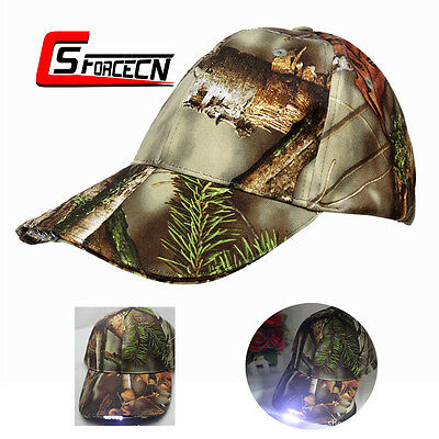 Adjustable Camouflage LED Lighted Cap Outdoor Tactical Army Hunting Baseball Hat