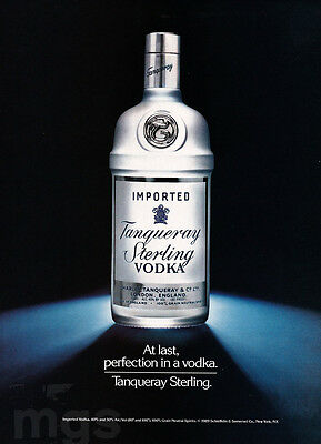 Tanqueray Sterling Vodka 1-page clipping ad Oct 1989 At Last, Perfection