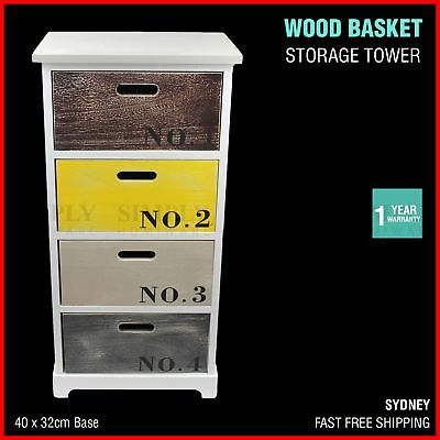 Wooden Basket Shelf Storage Tower Chest Of Drawers Crate Vintage Bedroom White