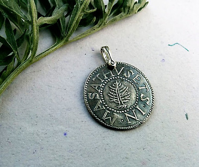Pendant1692 Salem WitchTrial Pine Tree Silver Shilling Massachusetts New England