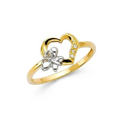 Butterfly CZ Heart Ring Solid 14k Yellow Gold Right Hand Band Love Style Fancy