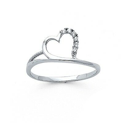 Solid 14k White Gold Heart Ring CZ Love Band Fashion Style Curve Beaded Design