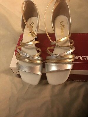 So Danca Silver And Gold character  Ballroom Shoes Size 8.5