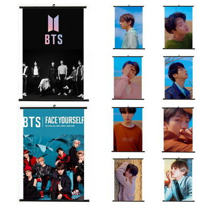 Kpop BTS Bangtan Boys Hanging Painting Wall Scroll Art Poster Home Decor