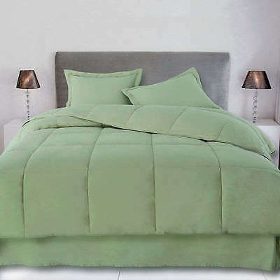 "1200TC Egyptian cotton 18"" Pocket 3 Pc. Olive Sage Green Euro Double bedding set"