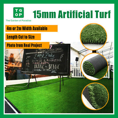 Artificial  Grass 15mm 1Tone Synthetic Turf Lawn Carpet 2m/4m Width Cut Length