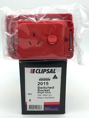 Clipsal 2015 Red Switched Socket Outlet Single Gang GPO 10A 250V Series 2000 x5