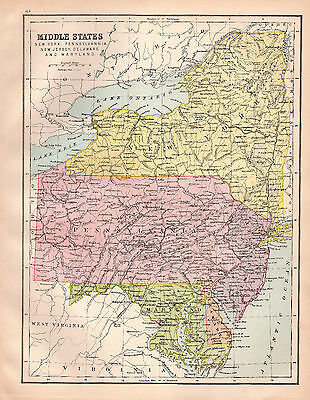 Map of Middle States New york Maryland Large  1880 Original Antique