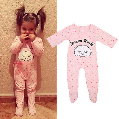 Newborn Baby Girls Sleepwear Pajamas Pyjamas Long Sleeve Clothes Romper Jumpsuit