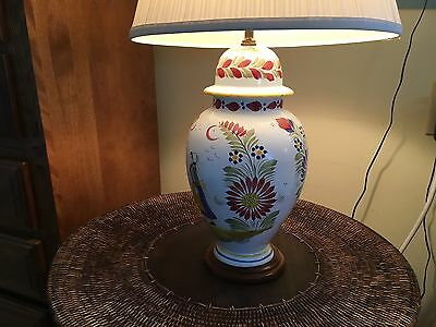 "QUIMPER Pottery, H B QUIMPER Signed, 24"" high Diameter: 24"" Electric Table Lamp"