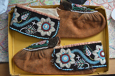 Vintage Native American Beaded Moccasins unworn early 20th century