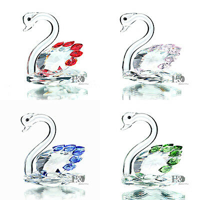New Crystal Cut Glass Swan Animal Figurines Collectibles Wedding Gift Ornaments