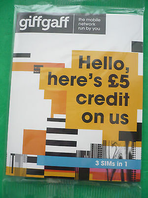 10 X Giffgaff   Sims 3 In 1 Each With £5 Extra Credit On Initial Top Up Of £10