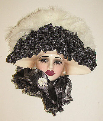 Unique Creations Masked Lady Face Mask Wall Hanging Decor - Silver white