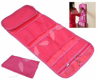 Lady Travel Toiletry Wash Folding Hanging Roll Up Case Organizer Makeup Bag