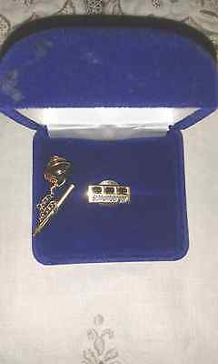 Gold Brooch/tie Pin 14 Ct Gold With 3 Sapphires By Schlumberger