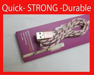 STRONG BRAIDED USB DATA CHARGER CABLE LEAD for iPhone 7 6 5 5S 5C iPad Plus (P21