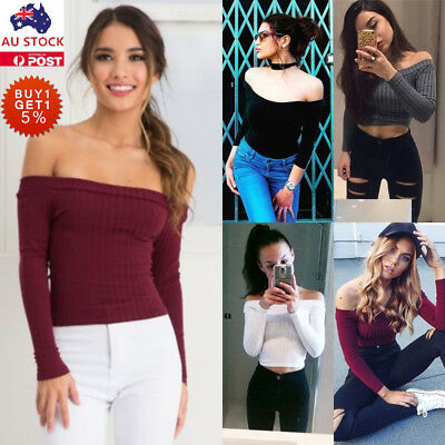 Women Slim Off Shoulder Shirt Long Sleeve Blouse Sweater Leotard Knit Crop Tops