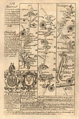 Barnstaple-Ilfracombe-Bideford-Torrington road map by J. OWEN & E. BOWEN 1753