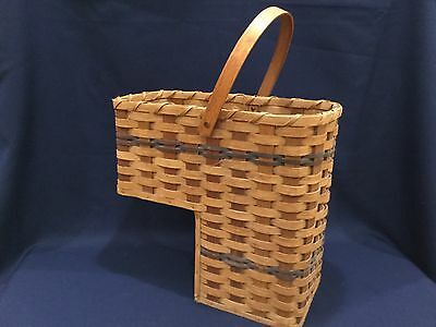 Amazing Vtg Wood Wicker Stair Basket Step Basket Locally Erie Amish Made  With Stairway Basket