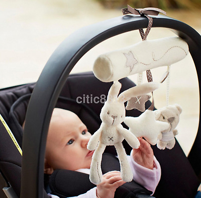 Kid Baby Crib Cot Pram Bed Stroller Hanging Plush Toy Rabbit Bear Bell& Music A^