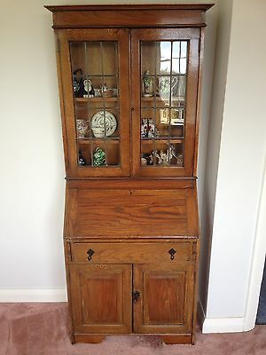 Vintage Oak Bureau, leaded, Glazed doors