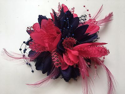 Navy Blue and Fuchsia  Pink Fascinator on Clip Pin Hairband Feathers Laces Beads