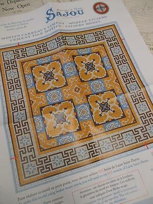 Sajou French Cement Tile Basketweave Needlepoint Tapestry Chart- Viviers