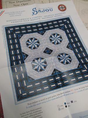 Sajou French Cement Tile Basketweave Needlepoint Tapestry Chart- Donzere