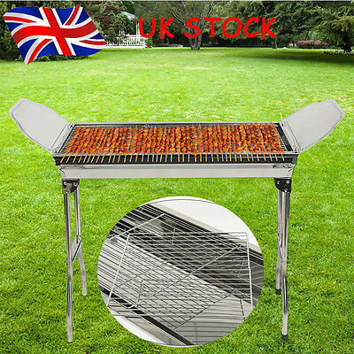 Large Foldable BBQ Charcoal Grill Stand + Side Plates Stainless Outdoor Picnic